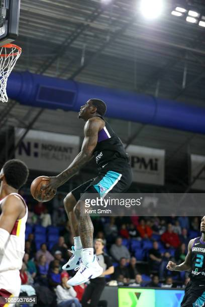 Dwayne Bacon of the Greensboro Swarm handles the ball against the Canton Charge on January 21 2019 at Greensboro Coliseum Fieldhouse in Greensboro...