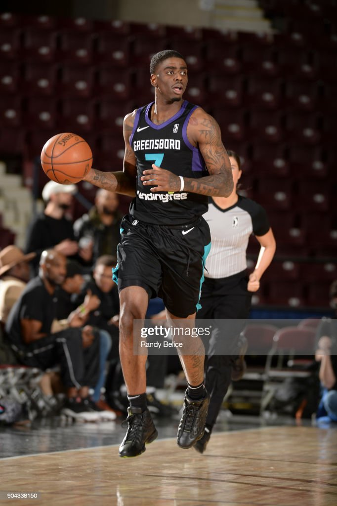 Dwayne Bacon #7 of the Greensboro Swarm handles the ball against the Texas Legends at NBA G League Showcase Game 17 on January 12, 2018 at the Hershey Centre in Mississauga, Ontario Canada.