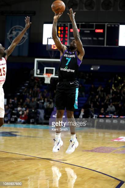 Dwayne Bacon of the Greensboro Swarm shoots the ball against the Canton Charge on January 21 2019 at Greensboro Coliseum Fieldhouse in Greensboro...