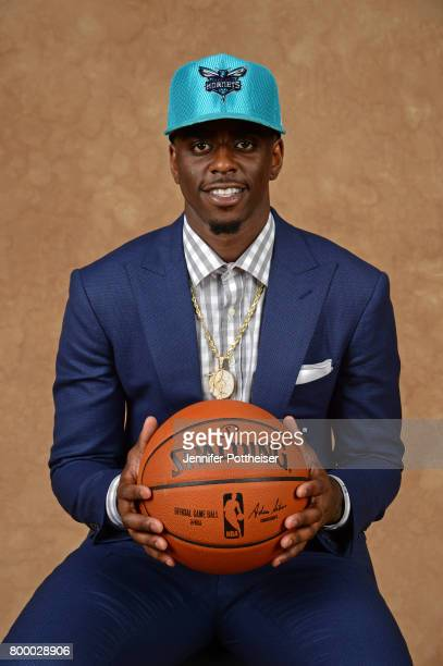 Dwayne Bacon poses for a portrait after being drafted number forty overall to the Charlotte Hornets during the 2017 NBA Draft on June 22 2017 at...