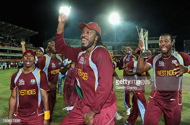Dwayne Bravo Chris Gayle and Dwayne Smith of the West Indies celebrate winning the ICC World Twenty20 2012 Final between Sri Lanka and the West...