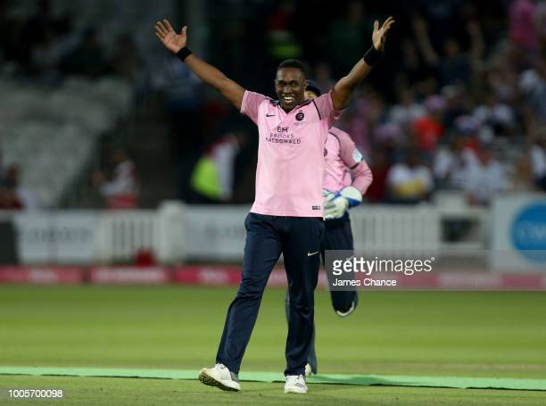 Dwayne Bravo of Middlesex celebrates bowling Fidel Edwards of Hampshire during the Vitality Blast match between Middlessex and Hampshire at Lords on...