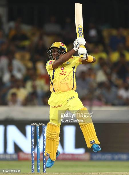 Dwayne Bravo of the Chennai Super Kings bats during the Indian Premier League Final match between the the Mumbai Indians and Chennai Super Kings at...