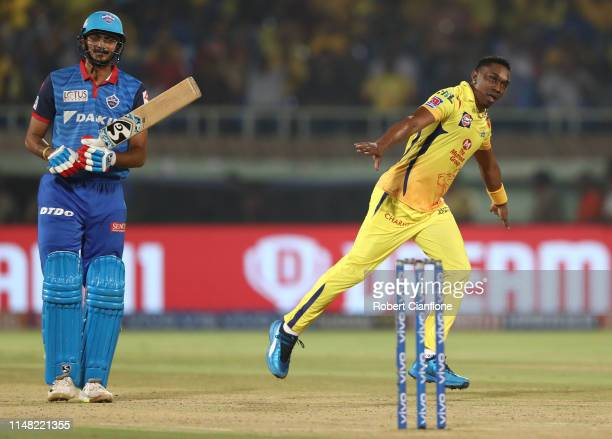 Dwayne Bravo of the Chennai Super Kings celebrates taking the wicket of Axar Patel of the Delhi Capitals during the Indian Premier League IPL...