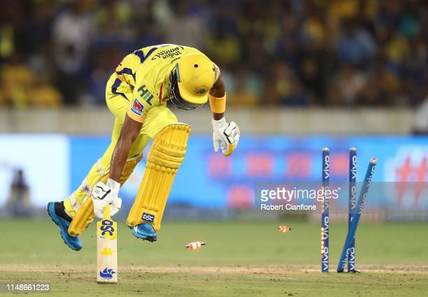 Dwayne Bravo of the Chennai Super Kings survives a run out attempt during the Indian Premier League Final match between the the Mumbai Indians and...