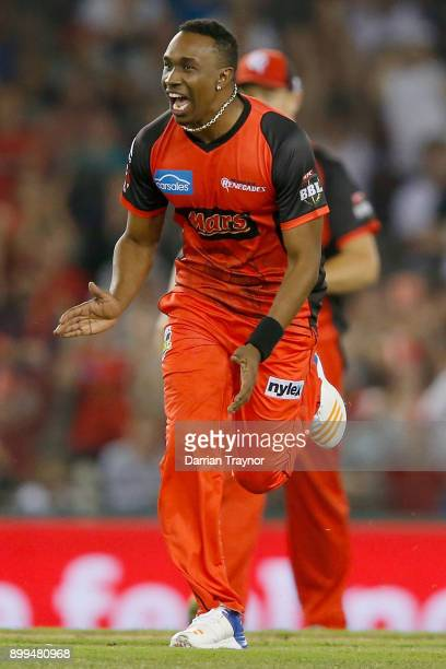 Dwayne Bravo of the Melbourne Renegades celebrates a wicket during the Big Bash League match between the Melbourne Renegades and the Perth Scorchers...