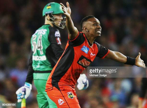 Dwayne Bravo of the Renegades appeals for a LBW during the Big Bash League match between the Melbourne Renegades and the Melbourne Stars at Etihad...