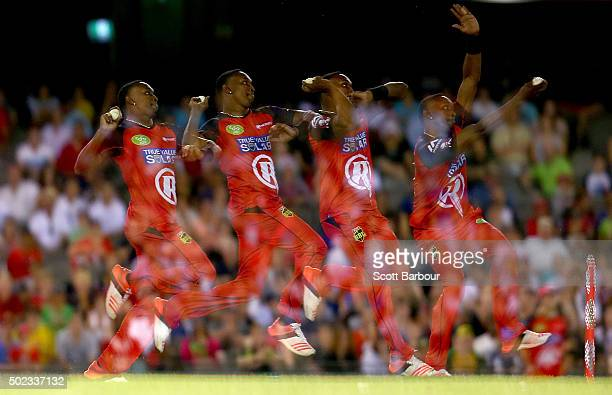 Dwayne Bravo of the Renegades bowls during the Big Bash League match between the Melbourne Renegades and the Sydney Sixers at Etihad Stadium on...