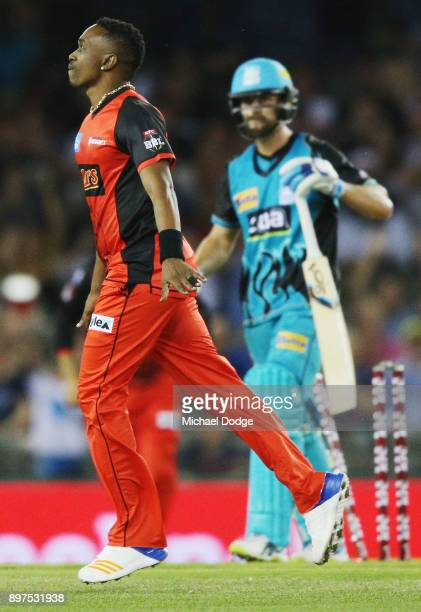 Dwayne Bravo of the Renegades celebrates a wicket during the Big Bash League match between the Melbourne Renegades and the Brisbane Heat at Etihad...