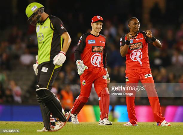 Dwayne Bravo of the Renegades celebrates a wicket with a dance during the Big Bash League match between the Melbourne Renegades and Sydney Thunder at...