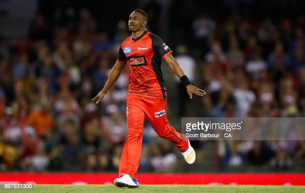 Dwayne Bravo of the Renegades celebrates after dismissing Alex Ross of the Heat during the Big Bash League match between the Melbourne Renegades and...