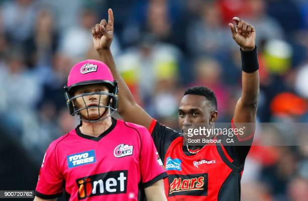 Dwayne Bravo of the Renegades celebrates after dismissing Sam Billings of the Sixers during the Big Bash League match between the Melbourne Renegades...