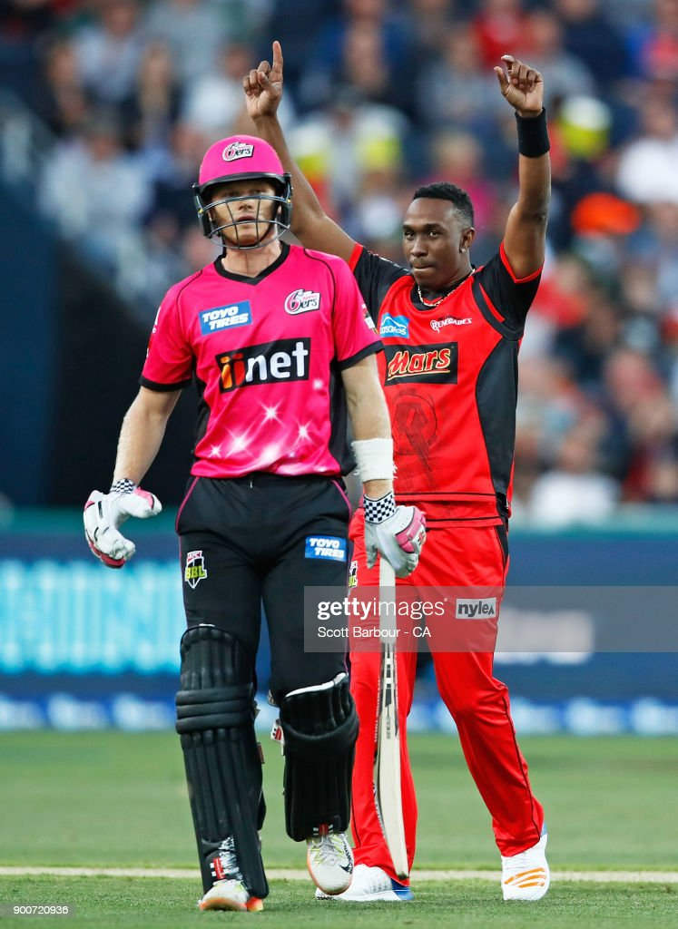 Dwayne Bravo of the Renegades celebrates after dismissing Sam Billings of the Sixers during the Big Bash League match between the Melbourne Renegades and the Sydney Sixers on January 3, 2018 in Geelong, Australia.