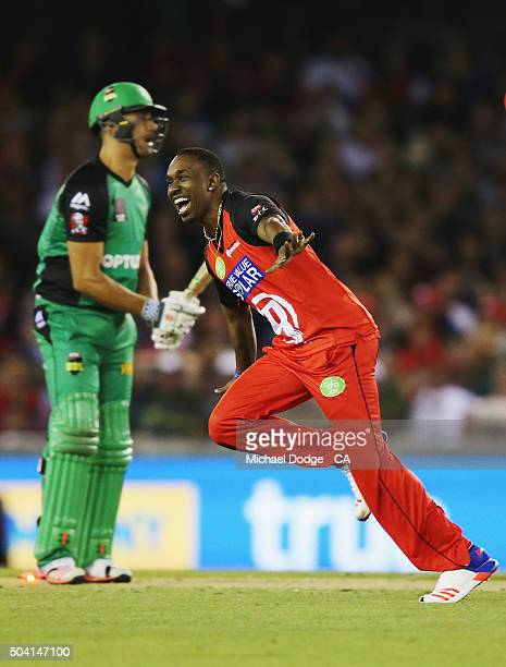 Dwayne Bravo of the Renegades celebrates his wicket of Marcus Stoinis of the Stars during the Big Bash League match between the Melbourne Renegades...