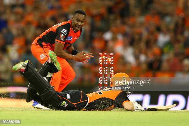 Dwayne Bravo of the Renegades celebrates running out Adam Voges of the Scorchers during the Big Bash League match between the Perth Scorchers and the...