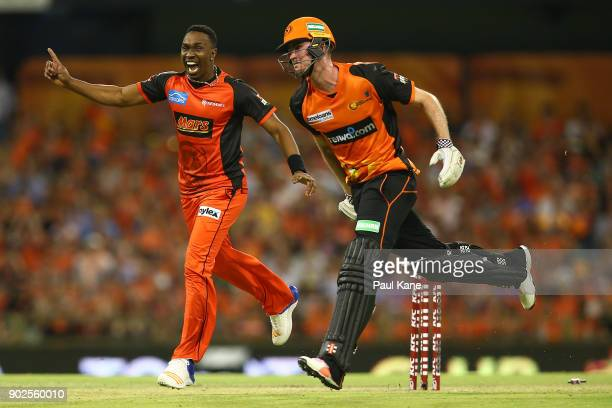 Dwayne Bravo of the Renegades celebrates running out Ashton Turner of the Scorchers during the Big Bash League match between the Perth Scorchers and...