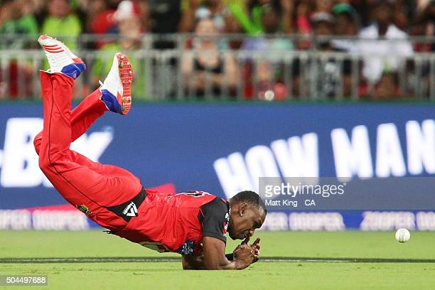 Dwayne Bravo of the Renegades drops a catching chance for the wicket of Shane Watson of the Thunder during the Big Bash League match between the...