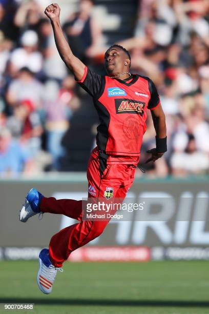 Dwayne Bravo of the Renegades misses a catch during the Big Bash League match between the Melbourne Renegades and the Sydney Sixers on January 3 2018...