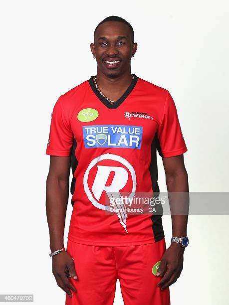 Dwayne Bravo of the Renegades poses during the Melbourne Renegades Big Bash League headshots session at Soniq Headquarters on December 15 2014 in...