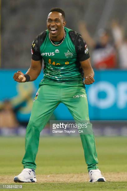 Dwayne Bravo of the Stars celebrates the win after the Big Bash League match between the Melbourne Stars and the Brisbane Heat at Melbourne Cricket...