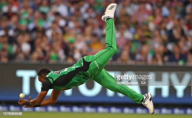 Dwayne Bravo of the Stars drops a catch from his bowling during the Big Bash League match between the Melbourne Stars and the Melbourne Renegades at...