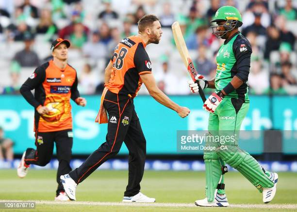 Dwayne Bravo of the Stars is bowled by Andrew Tye of the Scorchers who celebrates during the Melbourne Stars v Perth Scorchers BBL match at Melbourne...