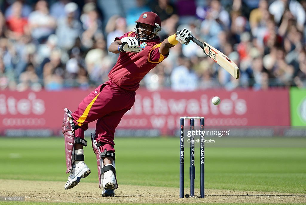 Dwayne Bravo of the West Indies bats during the Natwest