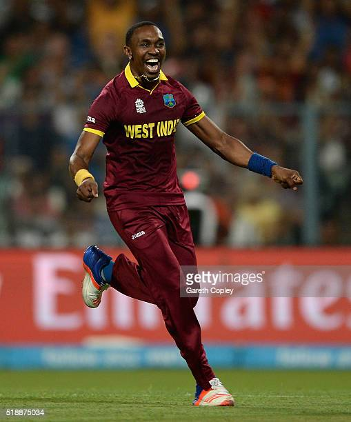 Dwayne Bravo of the West Indies celebrates dismissing Ben Stokes of England during the ICC World Twenty20 India 2016 Final between England and the...