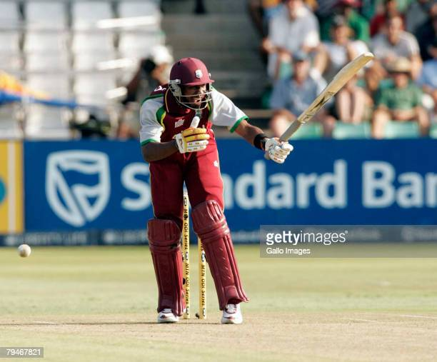 Dwayne Bravo of the West Indies in action during the 4th ODI between South Africa and West Indies held at Sahara Stadium on February 1 2008 in...