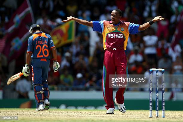 Dwayne Bravo of West Indies celebrates at the end of the ICC World Twenty20 Super Eight match between West Indies and India at the Kensington Oval on...