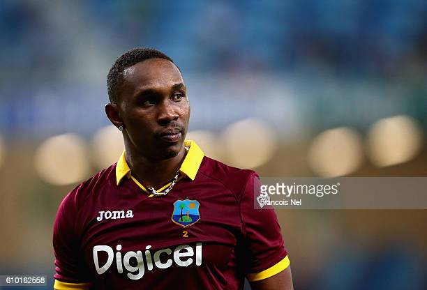 Dwayne Bravo of West Indies looks on during the second T20 International match between Pakistan and West Indies at Dubai International Cricket...