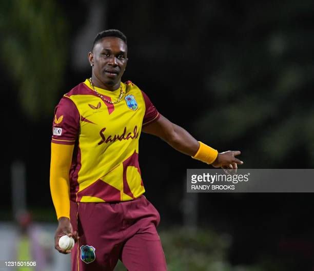 Dwayne Bravo of West Indies sets the field during a T20i match between Sri Lanka and West Indies at Coolidge Cricket Ground on March 3, 2021 in...