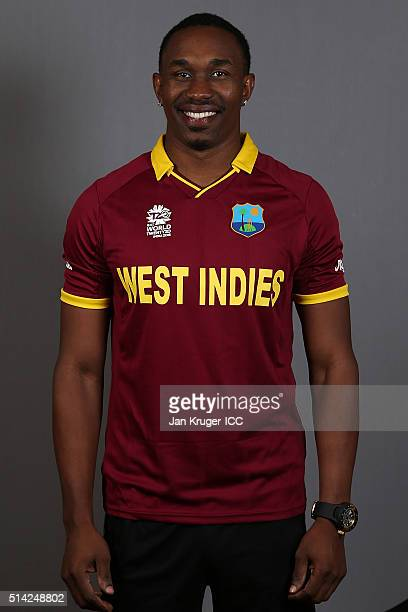 Dwayne Bravo poses during the West Indies headshots session ahead of the ICC Twenty20 World Cup on March 8 2016 in Kolkata India
