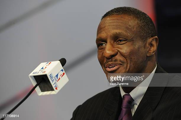 Dwayne Casey speaks to the media as he is introduced as the new head coach of the Toronto Raptors on June 21 2011 at the Air Canada Centre in Toronto...