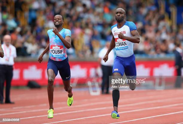 Dwayne Cowan of Great Britain wins the Mens 400m race during the Muller Grand Prix Birmingham meeting at Alexander Stadium on August 20 2017 in...