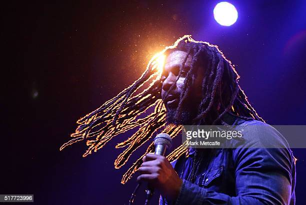 Dwayne 'Danglin' Anglin of The Wailers performs live for fans at the 2016 Byron Bay Bluesfest on March 27 2016 in Byron Bay Australia