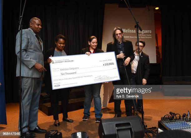 Dwayne Davilar Pamela Alexander Melissa Salguero Scott Goldman and Nick Cucci pose during 2018 Music Educator Award Winner Check Presentation on June...