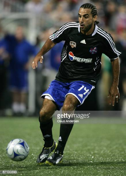 Dwayne De Rosario dribbles the ball during the 2008 Pepsi MLS All-Star Game between the MLS All-Stars and West Ham United at BMO Field on July 24,...