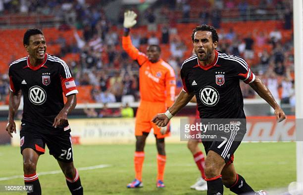 Dwayne De Rosario of DC United celebrates after scoring the opening goal against the Chicago Fire at RFK Stadium on August 22 2012 in Washington DC