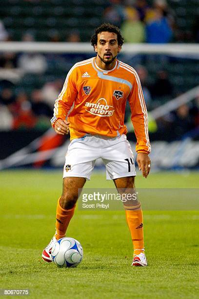Dwayne De Rosario of the Houston Dynamo looks to pass against the Kansas City Wizards during the game at Community America Ballpark on April 12 2008...
