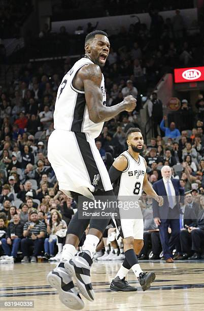 Dwayne Dedmon of the San Antonio Spurs reacts after scoring two against the Minnesota Timberwolves at ATT Center on January 17 2017 in San Antonio...