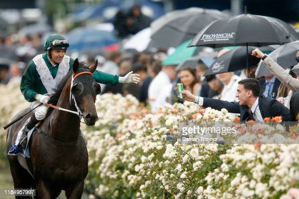 Dwayne Dunn on Exceedance returns to scale after winning race 6 the Coolmore Stud Stakes during 2019 Derby Day at Flemington Racecourse on November...