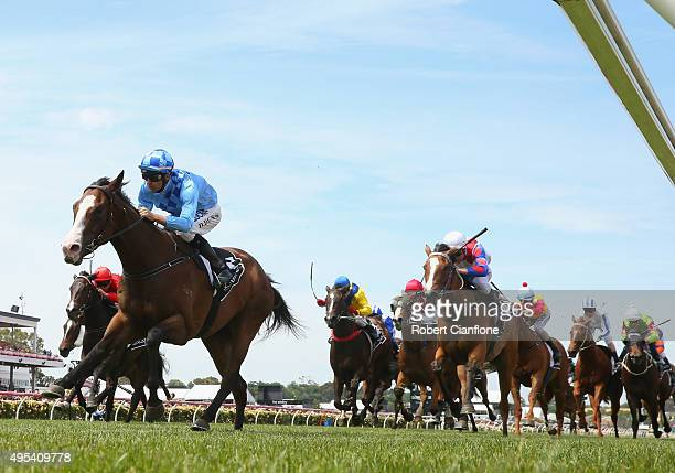 Dwayne Dunn rides Don't Doubt Mamma to win race six The Lexus Hybrid Plate on Melbourne Cup Day at Flemington Racecourse on November 3 2015 in...
