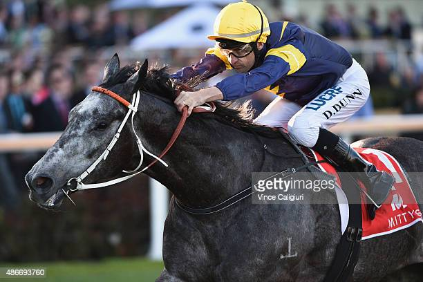 Dwayne Dunn riding Chautauqua wins Race 8 the Mitty's McEwan Stakes during Melbourne Racing at Moonee Valley Racecourse on September 5 2015 in...