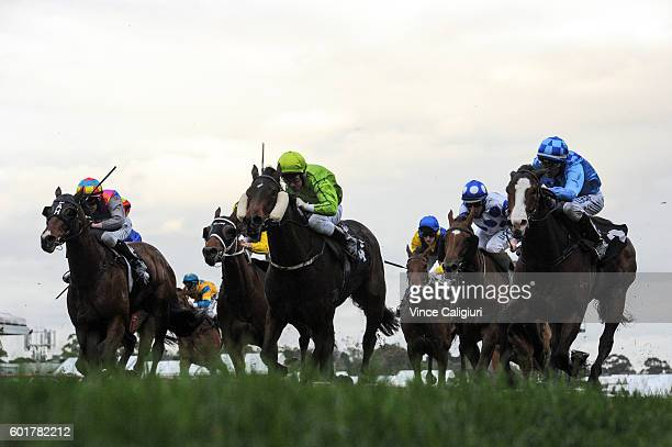 Dwayne Dunn riding Don't Doubt Mamma wins Race 8 Lets Elope Stakes during Melbourne Racing at Flemington Racecourse on September 10 2016 in Melbourne...