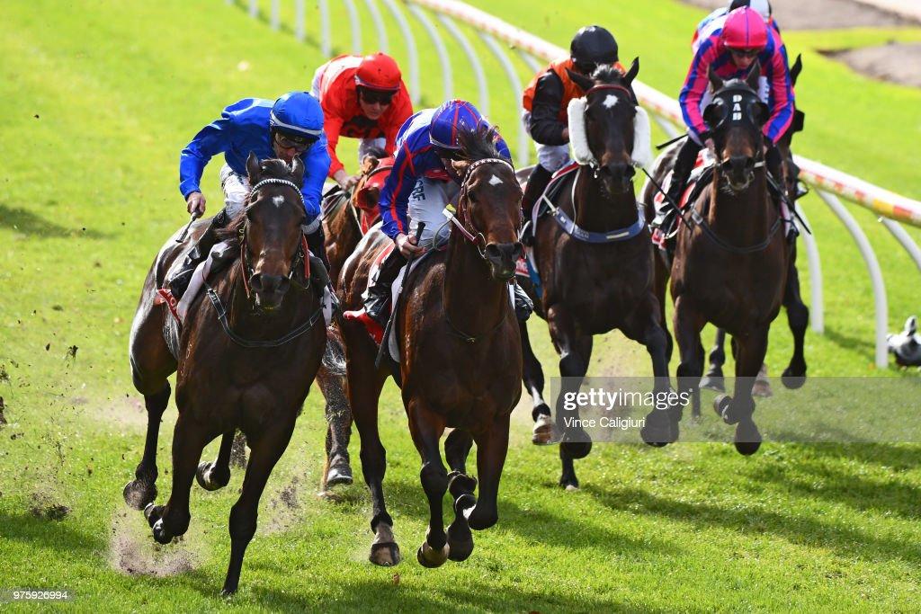 Dwayne Dunn riding Eusebio defeats John Allen riding Artie Dee Two in Race 3 during Melbourne racing at Moonee Valley Racecourse on June 16, 2018 in Melbourne, Australia.