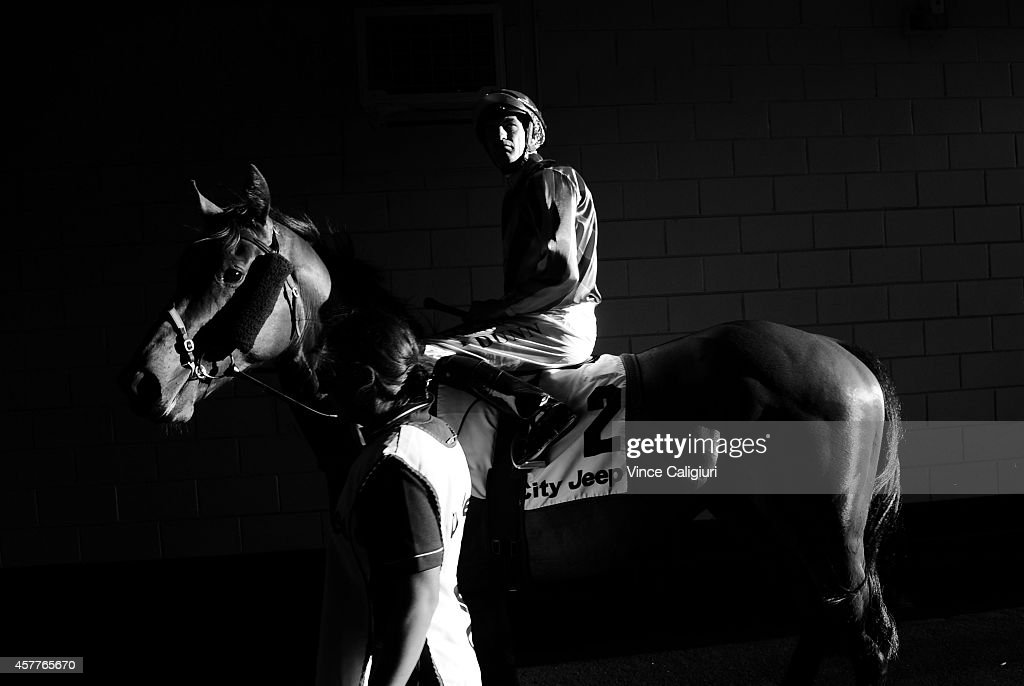 Dwayne Dunn riding Fast 'n' Rocking before Race 1 during Manikato Stakes Night at Moonee Valley Racecourse on October 24, 2014 in Melbourne, Australia.