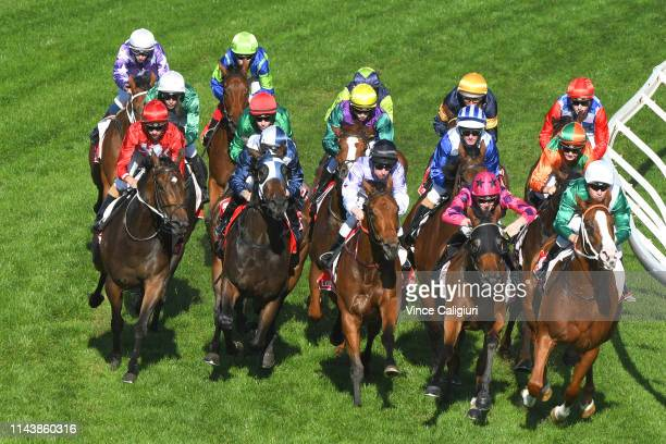 Dwayne Dunn riding Graceful Storm in Race 6 Geoff Murphy Handicap before winning during the Easter Cup Races at Caulfield Racecourse on April 20 2019...