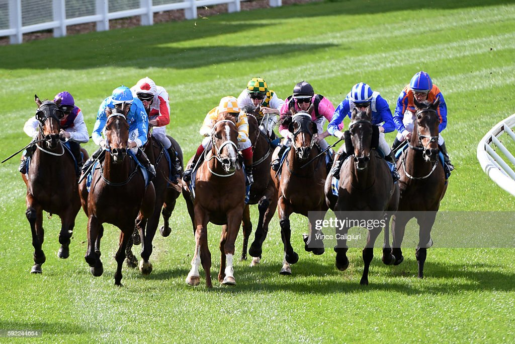 Dwayne Dunn riding Grand Dreamer (2 L) winning Race 2, during Melbourne Racing at Moonee Valley Racecourse on August 20, 2016 in Melbourne, Australia.