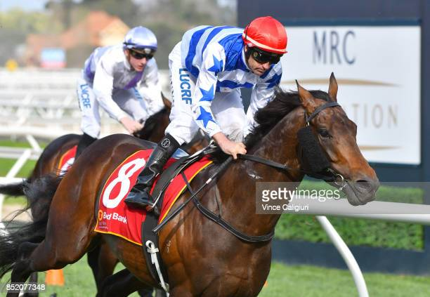 Dwayne Dunn riding Harlem wins Race 7 MRC Foundation Cup during Melbourne Racing at Caulfield Racecourse on September 23 2017 in Melbourne Australia